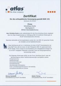 Zertifikat atlas  ortho Versorgung